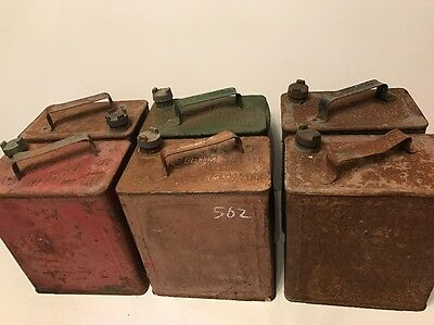 VINTAGE MOTOR CAR CANS X6 - JOB LOT WITH LIDS - SHELL , BP Etc