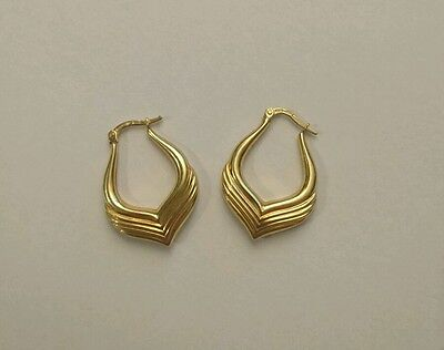 9CT 375 Yellow Gold Ladies Hollow Earrings 2.1g