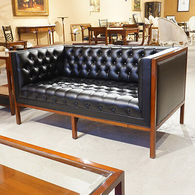 Clean Line Mahogany Tufted Love Seat and Chair with Black Vinyl