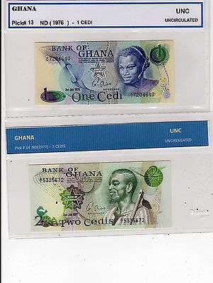 Ghana  - Lot Of 2  Notes   --  Unc