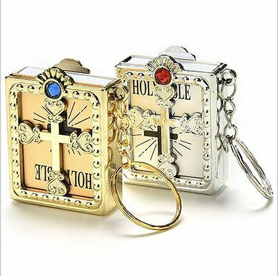 Miniature Holy Bible Book + Case Keyring - Silver / Gold Key Chain UK