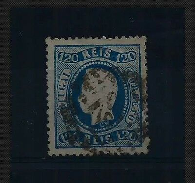 PORTUGAL 1867 120r CURVED LABEL PERF 12.5 USED