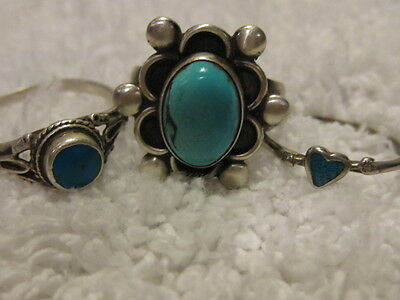 LOT OF 3 VINTAGE  Silver TURQUOISE RINGS