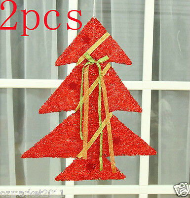 * Christmas Xmas Height 40CM Red Decorations Ornaments Christmas Tree 2 PCS