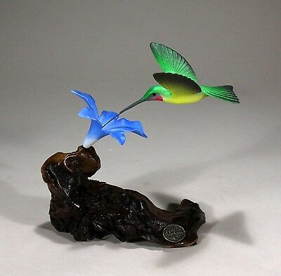 HUMMINGBIRD Sculpture New Direct from JOHN PERRY 7in Tall Blue Flower Statue