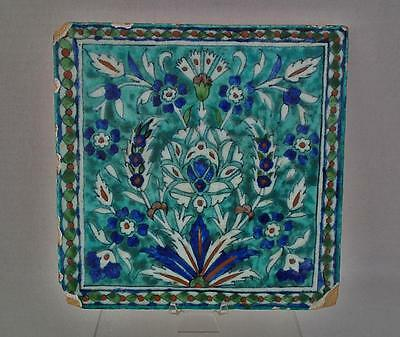 Antique 19th Century Turkish Ottoman Kutahya Ceramic Islamic Tile