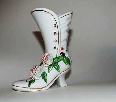 Collectible Porcelain Victorian Boot Flower Vase with 3D Flowers