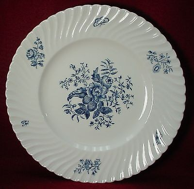 "ROYAL WORCESTER china BLUE SPRAYS white DINNER PLATE 10-1/2"" Swirled"