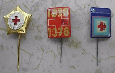 RED CROSS -100 years Croatian Red Cross- Yugoslavia - LOT 3 Old pins