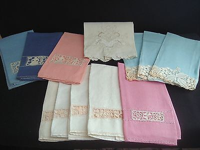 Lot Vintage Stunning Cut-Out Figural Embroidered Linen Guest Towels - 12