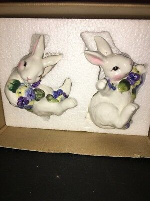 Bunny & Flowers Salt and Pepper Shakers 4'' animal easter