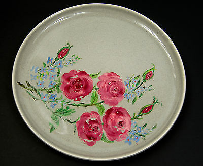 Vintage Russel Wright Steubenville Hand Painted Rose Flower 10 inch Plate
