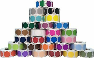 Circle Dot Stickers, 3/4 Inch Round, 500 Labels on a Roll, 38 Color Choices