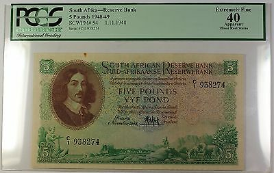 1948-49 1.11.1948 South Africa 5 Pound Note SCWPM# 94 PCGS EF-40 Apparent