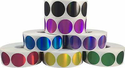 Hologram Circle Dot Stickers, 3/4 Inch Round, 500 on a Roll, 9 Color Choices