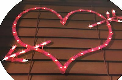 Impact Innovations Valentine Lighted Window Decoration, Arrow Heart #29552 NEW