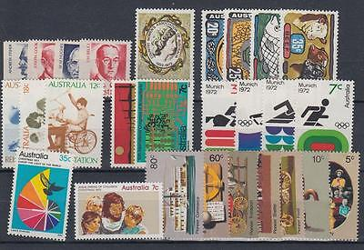 Australia 1972 MNH ** All Complete Year 27 Stamps [A1318]