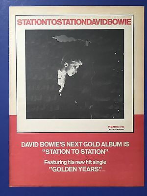 "David Bowie Original & Rare 1975 STATION TO STATION,Goes Gold 11X14.5"" Promo Ad"