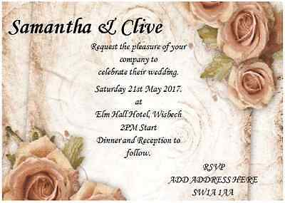 20 Vintage Wedding day invitations PERSONALISED with FREE envelopes & RSVP cards