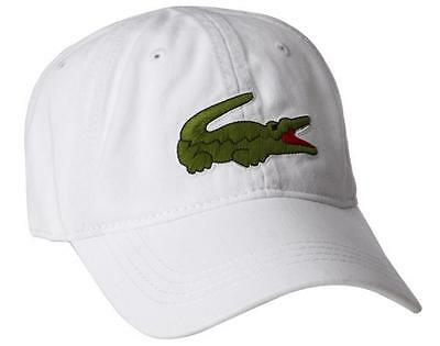 New Lacoste Men's Cotton Gabardine Hat Baseball Cap Large Crocodile / White
