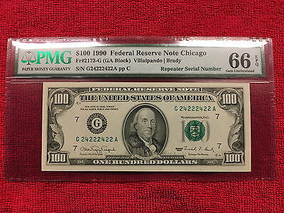 1990 Fr-2173-G $100 Frn Chicago Repeater S/n 24222422 Pmg 66 Epq.. Attractive