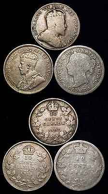 CANADA 1880 H, 1907 & 1913 Silver Ten Cents 3 Pc. Lot