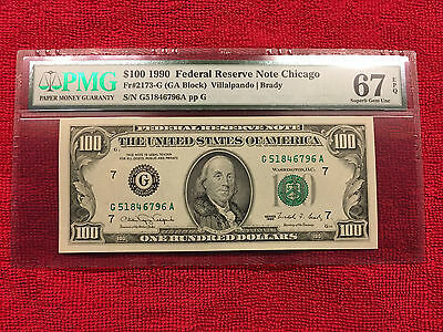 1990 Fr-2173-G $100 Frn Chicago Pmg 67 Epq..exceptional Nice Gorgeous