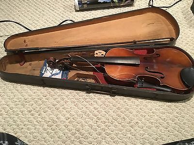 antique violin with case and bow
