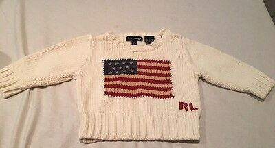 Polo Ralph Lauren Baby Sweater Knit Cotton Flag Design Baby Size 3m-12m S/M Used