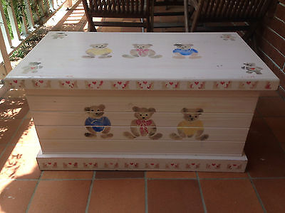 Pale Pink Hand Painted Timber Toy Box