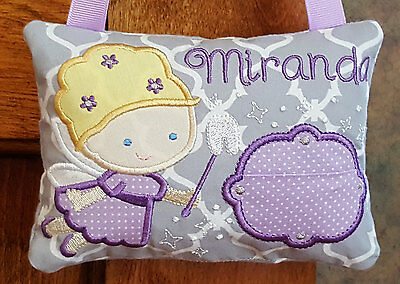 Personalized Girl Tooth Fairy Pillow Handmade Purple Grey ToothFairy