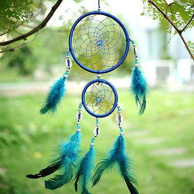Car Blue Dream Catcher Circular With feather Wall Hanging Decoration Gift