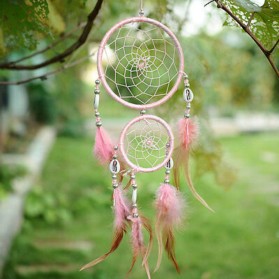 Car Pink Dream Catcher Circular With feathers Wall Hanging Decoration Gift