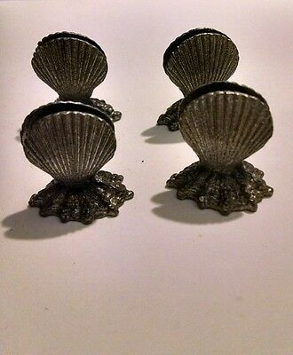 Set of 4 Pewter Shell Place Card Holders Tabletop