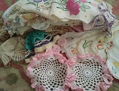 Vintage  Collection 50+ Crochet & Embroidered Doilies,  Runners, Milk Jug Covers