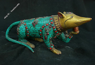 "15"" Tibet Fane Old Antique Pure Bronze Turquoise Coral Gilt Gem Mouse Sculpture"
