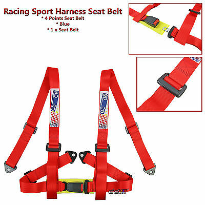 4 Point Racing Harness Seat Belt 2 Inch Safety Belt Red Sports Race 1 Pcs
