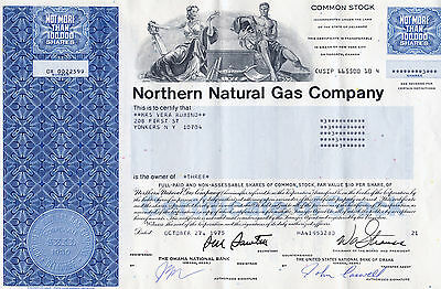 Northern Natural Gas Company stock certificate - Delaware 1975