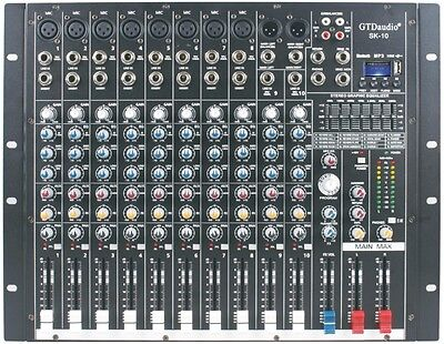4000 Watts 10 Channel Professional Powered Mixer power mixing Amplifier Amp SK10