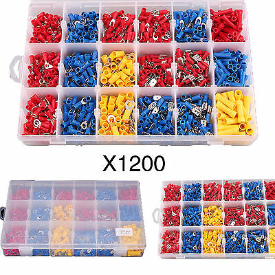 1200 Pcs Assorted Insulated Electrical Connectors Crimp Ring Spade Terminals Kit