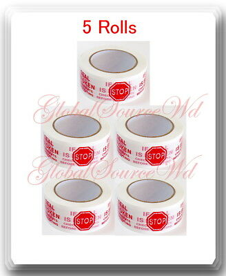 """5 Rolls 2"""" x 110 yds Security Seal Packing Tape IF SEAL IS BROKEN"""