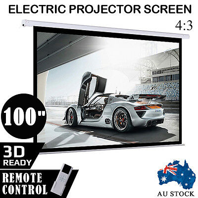 """100"""" Inch Electric Motorised Projector Screen Home Theatre Projection Remote #"""