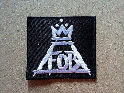 New FALL OUT BOY Embroidered Easy Iron On Rock Band Patc black.