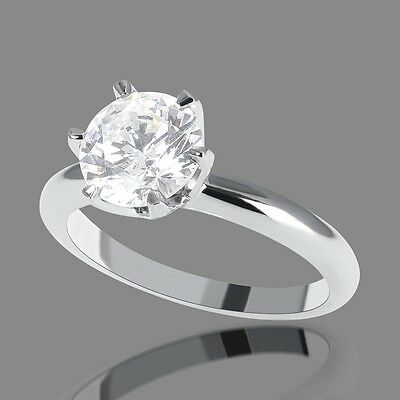3/4 Carat D/VS2 Solitaire Diamond Engagement Ring Round Cut 14K White Gold