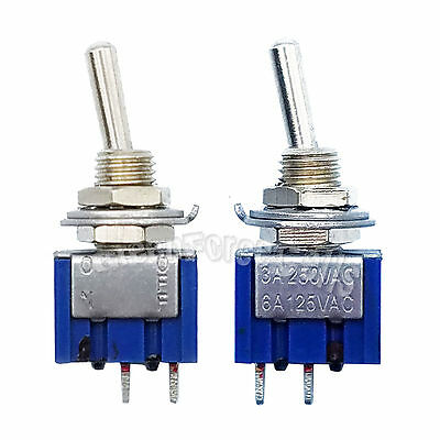 5 pcs 2 Pin SPDT ON-OFF 2 Position 6A 250VAC Mini Toggle Switches MTS-101