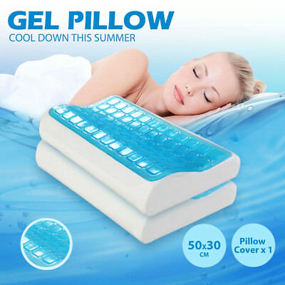 2pcs High Density  Cool Gel Contour Memory Foam Pillow with   Washable Cover