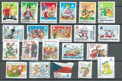 Postage stamps, Czech Republic, 21 different, Fairy tales, Cartoons, Fables