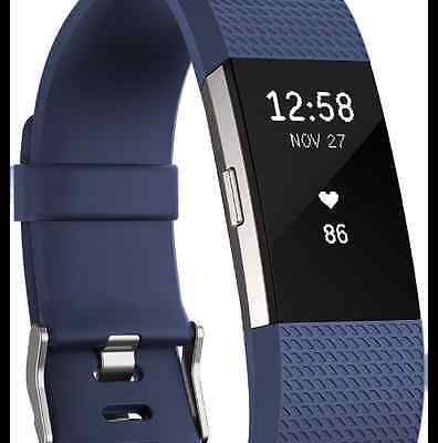***FITBIT Charge 2 Heart Rate + Fitness Wrist Band Blue-Silver**New**Sealed@@@@