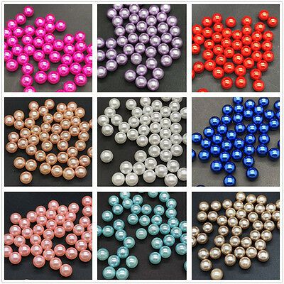 wholesale 4mm 6mm 8mm 10mmNo Hole Round Pearl Loose Acrylic Beads Jewelry Making