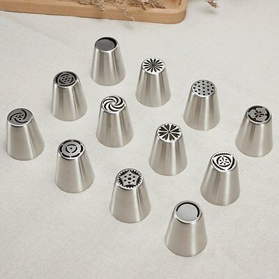 """""""12pcs"""" Russian Tulip Icing Piping Nozzle Cupcake Cake Decoration Tip Tool Set"""